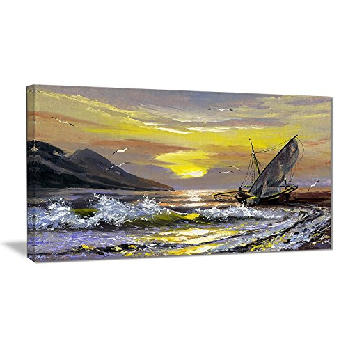 Designart Meet You soon Seascape - Yellow wall decorations