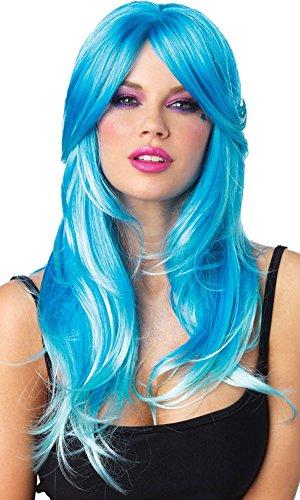 Leg Avenue Neon Star Long Wavy Wig,One Size,Neon Blue/Aqua (Star Long Wavy Wig)