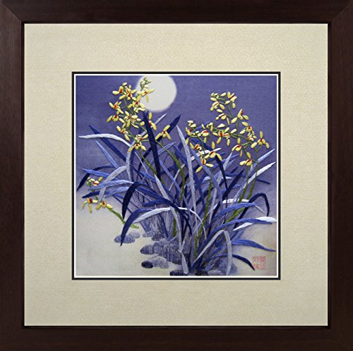(King Silk Art 100% Handmade Embroidery Multiple Framed Yellow Orchids Shining Under The Blue Moon Oriental Wall Hanging Art Asian Decoration Tapestry Artwork Picture Gifts 36014WFC3)