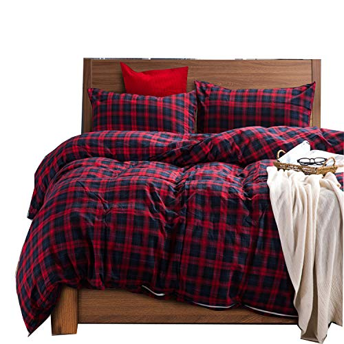 (Deep Sleep Home 100% Cotton Flannel Fabric 300 Thread Count Percale Dark Red Blue Plaid Design 4pc Duvet Cover Set Christmas Gift Wrinkle Resistance Full/Queen Size(Queen, Dark)