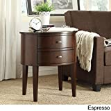 Double Drawer Oval Wood Accent Table (Espresso)