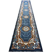 Traditional Long Blue Runner Rug 32 In. X 15 Ft. 6 In. Design #123