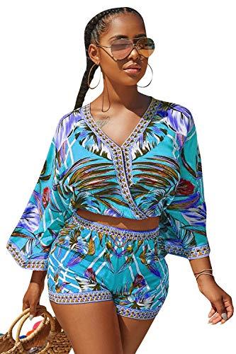 Cotton Two Piece Romper - Natsuki Women's V-Neck Floral Printed 2 Piece Outfit Crop Top Short Set Romper Jumpsuit S Blue