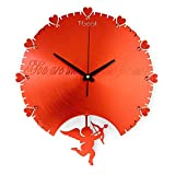 TIANTA- 16 Inch Romantic Cupid Wall Clocks Love Fashion Creative Modern Living Room Bedroom Mute Art Wall Clock decoration ( Color : Red )