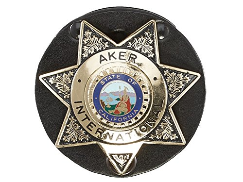 (Aker Leather 592 Clip-On Star Badge Holder, Black)