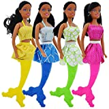 African American Pretty little Mermaid Fashion Dolls, 11 in. Color Coordinating Dress, Tail, and Hair Bundle of 3