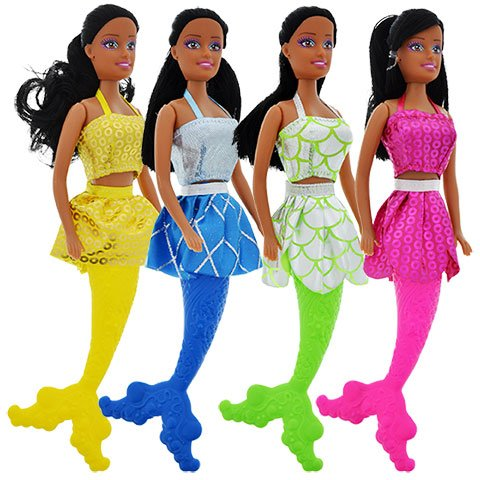 - 4 Black African American Mermaid Dolls Toy 11in. Add to your Barbie Collection.Bathtub Beach Water Pool Toy. Moorish (Play-Set of 4)
