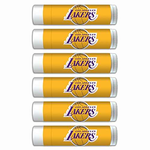 NBA LA Lakers Premium Lip Balm 6-Pack Featuring SPF 15, Beeswax, Coconut Oil, Aloe Vera, Vitamin E. NBA Gifts for Men and Women, Mother's Day, Fathers Day, Easter, Stocking Stuffers