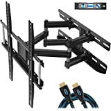 """Cheetah Mounts Dual Articulating Arm TV Wall Mount Bracket for 20-65"""" TVs up to VESA 400 and 115lbs, Mounts on Studs up to 16"""" and Includes a Twisted Veins 10' HDMI Cable & 6"""" 3-Axis Magnetic Bubble"""