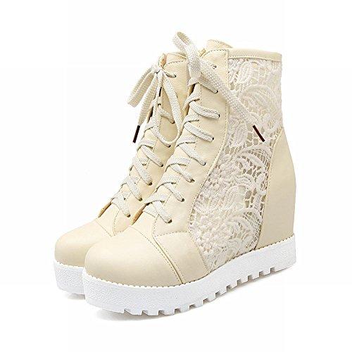 Charm Foot Womens Comfort Mesh Lace Up Tallone Nascosto Top Stivali Estivi Beige