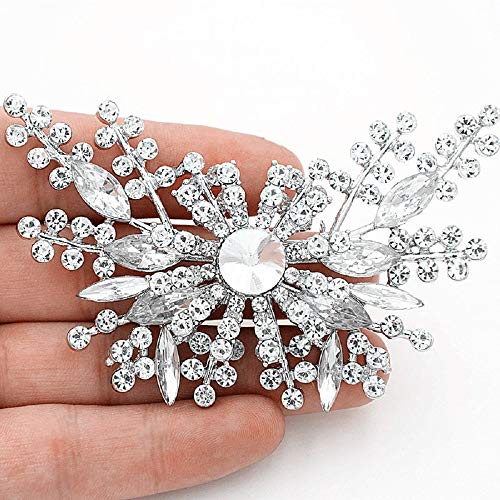 - Urberry Silver Plated Vintage Crystal Rhinestone Brooch Pins Bling Diamond Pins