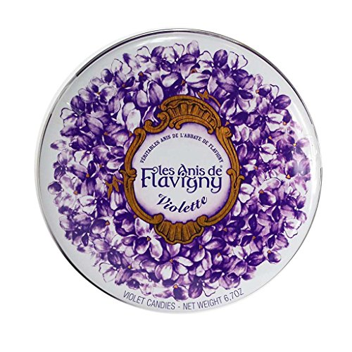 Old-Fashioned Violet (Violette) Flavored Anise Seed Hard Drop Candies from France by Les Anis de Flavigny, 190 Gram (6.72 Ounce) Tin