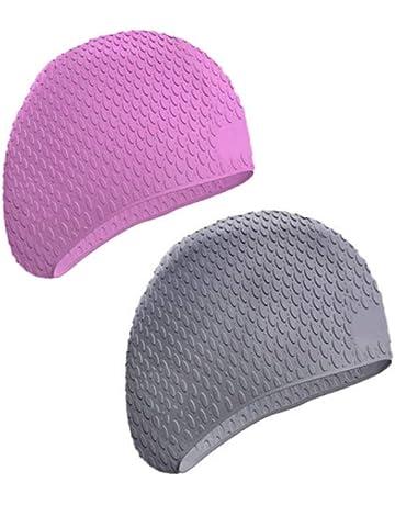 99831ba64d874 betio Gorras de natación 2 Piezas de Silicona elástica Gorro de baño para  Adultos Protección auditiva