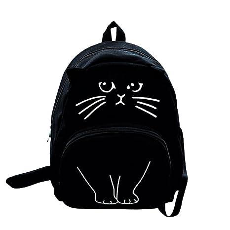 OneMoreT Mochila de lona con impresión de gato para mujer, mochila escolar para adolescentes y