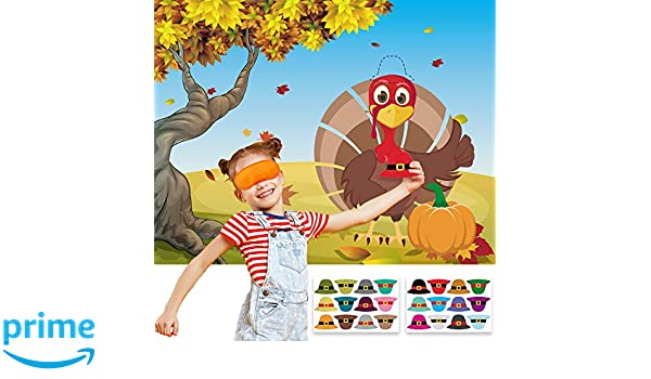 Funnlot Thanksgiving Party Games Pin the Hat on the Turkey Fall Festival Birthday Party Supplies Favors for Kids Thanksgiving Pin Game with 24 Hat Reusable Stickers Party Activities Pin Games