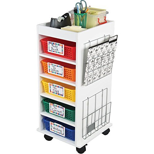Really Good Stuff Store More Multi-Use Rolling Organizer with Baskets and Wire Paper Holders