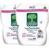 L'arbre vert Lessive Liquide Recharge pour Peau Sensible/Famille Hypoallergénique 30 Lavages 2 L - Lot de 2