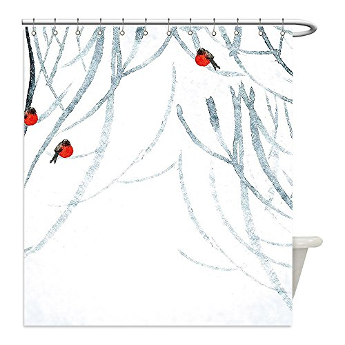 Liguo88 Custom Waterproof Bathroom Shower Curtain Polyester Winter Themed Forest Foggy Image with Little Birds Scenery Red White Light Grey and Black Decorative - Galleria In Plains White