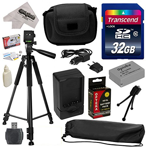 Must Have Accessory Kit for Canon PowerShot G1X G16 G15 SX50HS SX40HS SX50 SX40 HS Digital Camera Includes 32GB High-Speed SDHC Card + Card Reader + Opteka NB-10L 1800mAh Ultra High Capacity Li-ion Battery Pack + Rapid Charger + Deluxe Padded Carrying Case + Professional 60″ Tripod + Lens Cleaning Kit including LCD Screen Protectors Photo Print