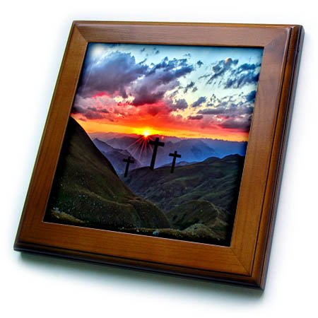 3dRose Beverly Turner Easter Design and Photography - Three Crosses at Sunrise in the Mountains - 8x8 Framed Tile (ft_276190_1) 3 Framed Crosses