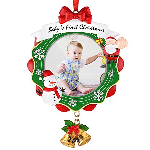 Micbox Babys First Christmas Picture Frame, Chrismas Ornament 2019 Year Dated, My Very First Christmas Baby Photo Frame, Picture Frame, Personalized