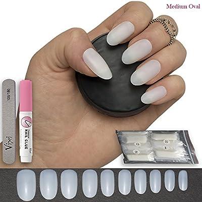600 piezas Oval clavos 10 tamaños - falso uñas Consejos corto ...
