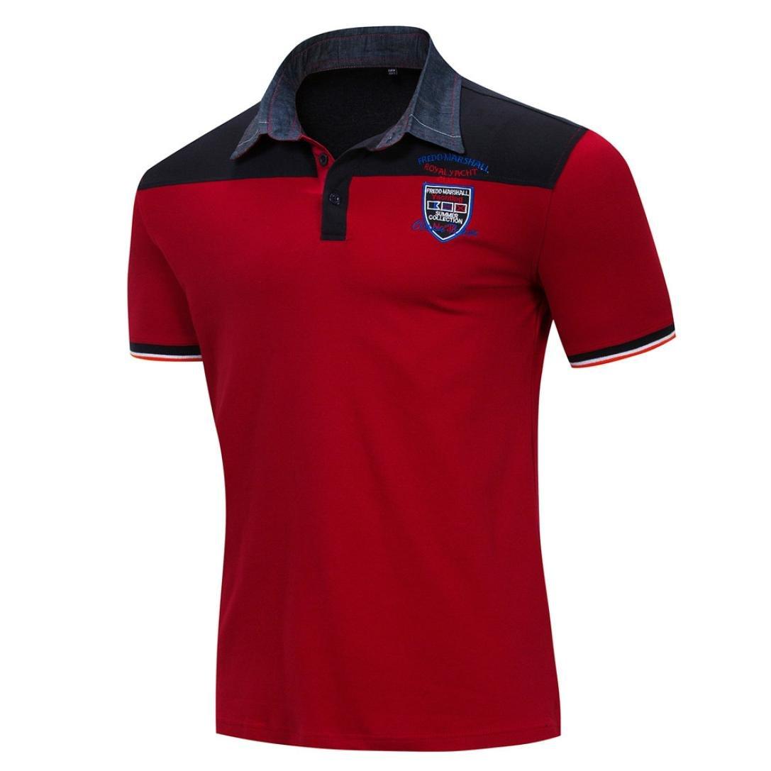 Personality Slim Casual Button O Neck Pullover Short Sleeve T-Shirt Top Blouse Realdo Mens Splice Polo Shirt