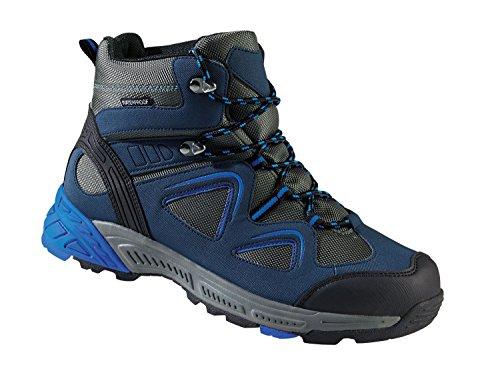 Herren Trekkingschuhe Wanderschuhe Atmungsaktiv, wasserdicht und windabweisend durch eingearbeitete TEX-Membran (Blau-Grau, 44)
