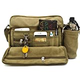 Messenger Bag for Men, MiCoolker Multifunction Canvas Messenger Bag Shoulder Bag for iPad and Tablet Leisure Change Packet with Small Water Bag Khaki for Men and Women