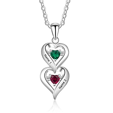 010db36886 KIKISHOPQ Sterling Silver 2 Stone Custom Simulated Birthstone Heart Drop  Mother's Pendant(Silver ...