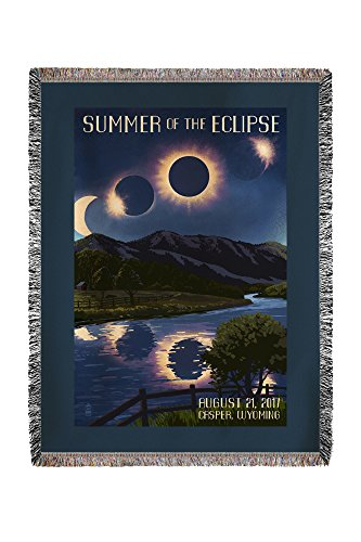 Casper, Wyoming - Solar Eclipse 2017 - Summer of the Eclipse (60x80 Woven Chenille Yarn Blanket) by Lantern Press