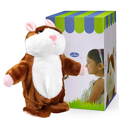DeXop Talking Hamster Plush Toy Repeats What You Say Animals Stuff Interactive Learning Repeating Toy Fun Gift for 4 5 6 Years Old Boys, Girls, Baby, Kids, Toddlers
