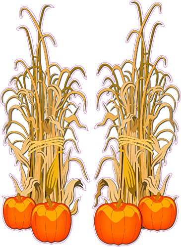 Corn Stalks For Halloween (Nostalgia Decals Halloween Corn Stalks Wall or Window Decor Decal Pair Each 24