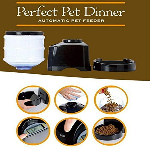 Automatic Feeder, PYRUS Large Automatic Cat Feeder Electric Pet Dry Food Container with LCD Display for Dogs Cats