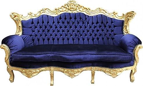 Casa Padrino Barock Sofa Master Royal Blau / Gold - Wohnzimmer ...