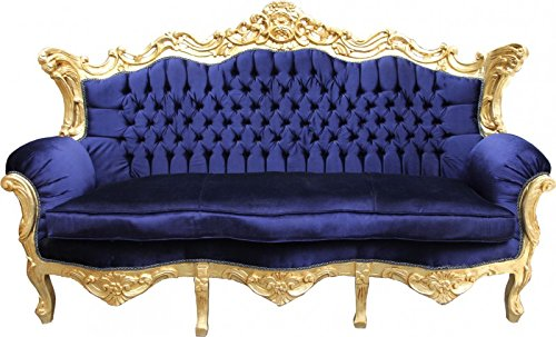 Casa Padrino Barock Sofa Master Royal Blau / Gold - Wohnzimmer Möbel Couch Lounge
