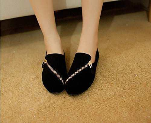 KHSKX-Korean Ladies Shoes Casual And Comfortable Shoes Black Zipper Shoes Thirty-six YbvBi