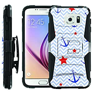 [ManiaGear] Heavy Duty Combat Armor Dual Layer Design Image Case With Kickstand Belt Holster Case (Sailor Star) for [Samsung Galaxy S6]