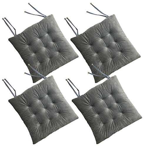 Cosyroom Set of 4 Chair Pads and Seat Cushions with Ties Non Slip Comfortable and Soft for Indoor, Dining Living Room, Kitchen, Office Chair, Den, Travel, Washable (Grey, 4) (4 Set Pads Kitchen Chair Of)