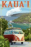 Kauai, Hawaii - VW Van Coastal (24x36 SIGNED Print Master Giclee Print w/ Certificate of Authenticity - Wall Decor Travel Poster)