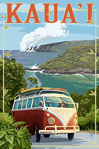 Kauai, Hawaii - VW Van Coastal (24x36 SIGNED Print Master Giclee Print w/ Certificate of Authenticity - Wall Decor Travel Poster) by Lantern Press