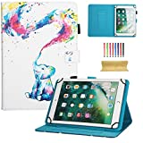 10 inch Universal iPad Case, Dteck PU Leather Magnetic Closure Case Cover [Cards/Money Slots] Flip Stand Wallet Protective Shell Case for Samsung Galaxy Tab A 9.7/ Tab E 9.6/ Tab 4 10.1/ Tab A 10.1, Nexus 9, iPad Pro 9.7, iPad 9.7 2017/2018, iPad Air 2, iPad Air,iPad 2/3/4, Amazon Fire HD 10 2015 & 2017, Huawei MediaPad T3 10, RCA Viking Pro / Viking II, Asus ZenPad 3S 10 Z500M 9.7 and All 9.5-10.5 inch Android Windows IOS Tablet PC, Rainbow Elephant