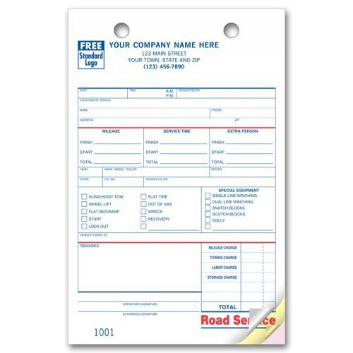 Road Service Towing Register Forms
