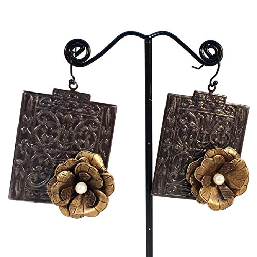 Victorian Style Tea Roses and Glass Pearls Drop Earrings, Black, Brown, Gun Metal, Iron, Hypoallergenic ()