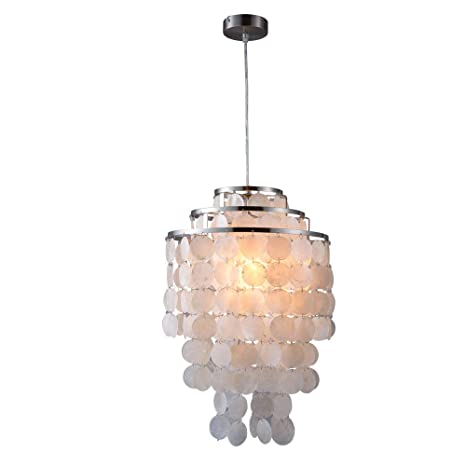 Modern Nordic Concha blanca Natural Lámpara colgante Accesorio E27 Luces LED para el hogar Deco Dormitorio Sala de estar Restaurante (Satin Nickel ...