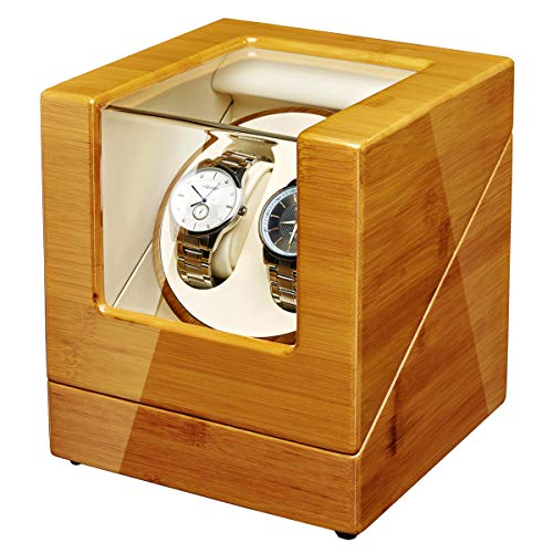 JQUEEN Watch Winder Box for Automatic Watches with Quiet Japanese Mabuchi Motor, Bamboo Wood Watch Box