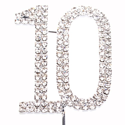 COSMOS Rhinestone Metal Number 10 Birthday 10th Anniversary Cake Topper, Silver Tone Color