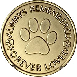 Always Remembered Forever Loved - Paw Prints On Your Heart Pet Dog Memorial Bereavement Medallion by RecoveryChip