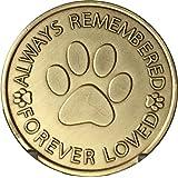 Always Remembered Forever Loved Pet Paw Print Dog Memorial Medallion Bronze Pocket Token