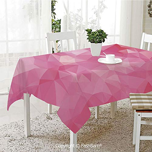 AmaUncle 3D Print Table Cloths Cover Abstract Mosaic Style Geometric Dimension Fractal Polygonal Illustration Table Protectors for Family Dinners (W55 xL72)]()